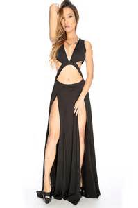 black cut out double thigh high slit maxi dress