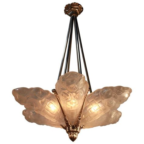 French Art Deco Chandelier 1930s By Degue At 1stdibs Chandelier Deco