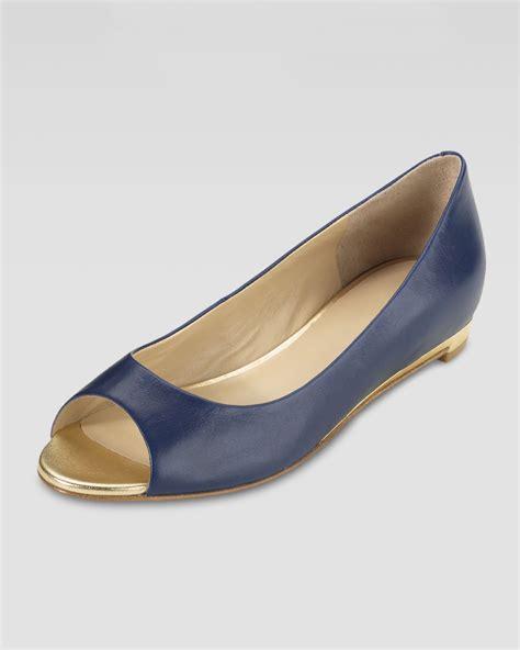 flat peep toe shoes lyst cole haan astoria peeptoe ballerina flat blazer