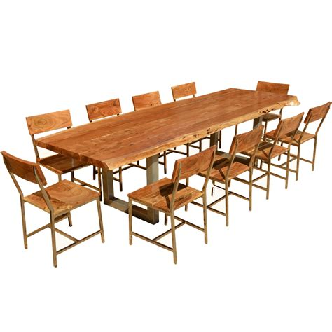 Live Edge Acacia Wood Iron 117 Quot Modern Dining Table 10 Dining Table 10 Chairs