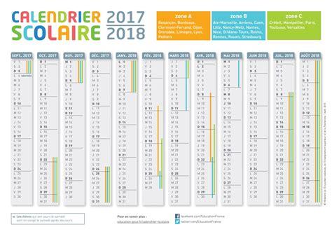 Zone Des Vacances Scolaires 2017 Le Calendrier Scolaire 2017 2018 224 Imprimer Du
