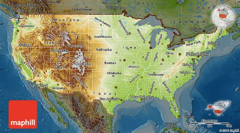a physical map of the united states physical map of united states darken