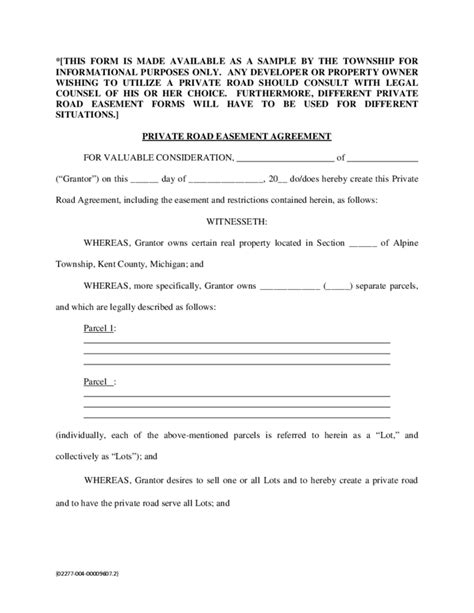 Easement Agreement Template easement