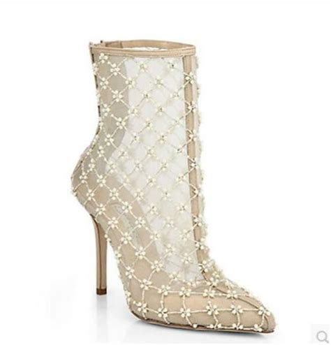 Wedding Shoe Boots by White Mesh Boots High Heels Ankle Boots