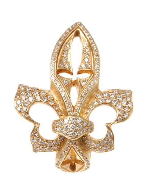 loree rodkin yellow gold sideways fleur de lis ring with
