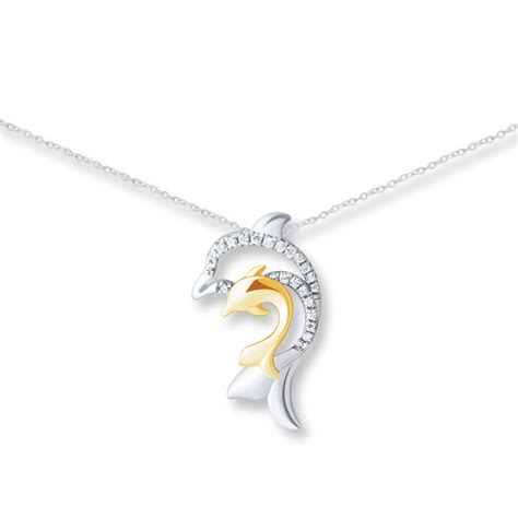 Dolphin Necklace dolphin necklace 1 10 ct tw diamonds sterling silver