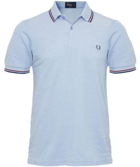 Fred Perry Slim Low fred perry light blue slim fit tipped polo shirt