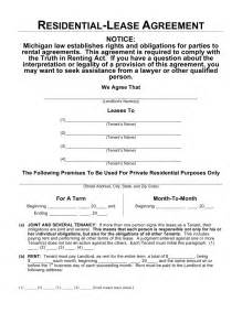 Template Residential Lease Agreement by Free Michigan Residential Lease Agreement Template Word