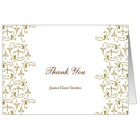 confirmation thank you card template golden vines communion thank you card