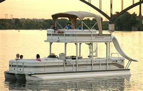 deck boat with slide double deck pontoon boat with slide want it so bad