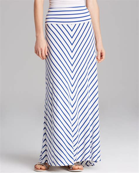 calvin klein striped maxi skirt in blue lyst