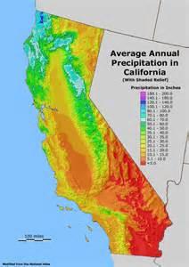 california annual rainfall map california map