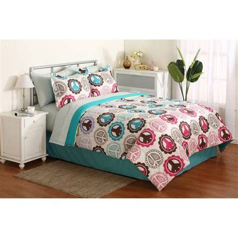 pink purple lime green teal peace sign comforter