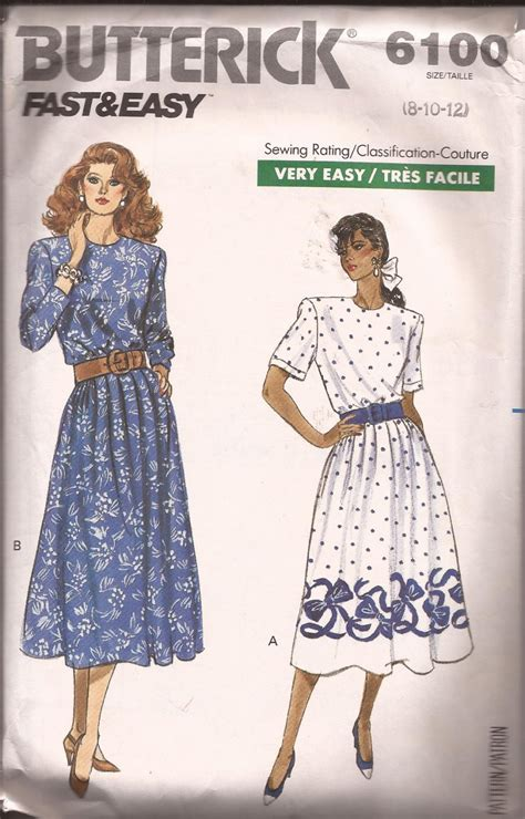 dress pattern gathered waist butterick 6100 1988 elastic pleated gathered waist back