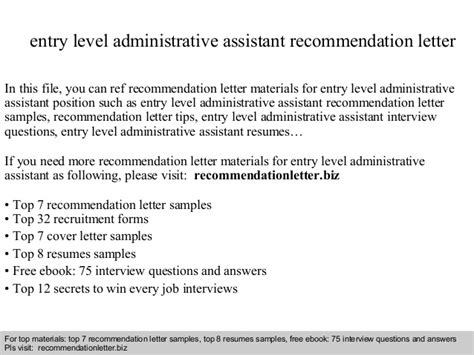 Reference Letter Administrative Assistant Entry Level Administrative Assistant Recommendation Letter
