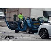 The Force Of Crash Caused Blue Ford Fiesta To Spin 360 Degrees