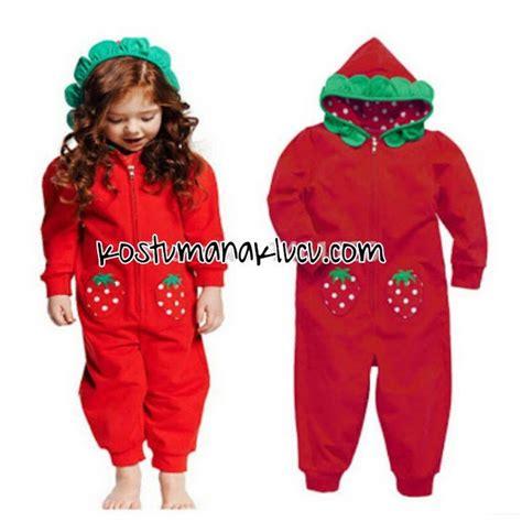 Baju Setelan Anak Senhukai 3pc kostum anak strawberry kostum anak lucu