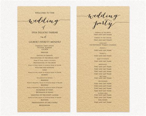 wedding program template wedding program cards