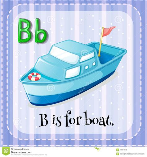 B For flashcard letter b is for boat stock vector image 60094879