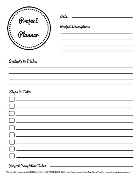 printable project planner free lots of features of last weeks party along with some