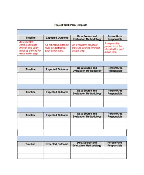 workplan template work plan template exle of work plan template work