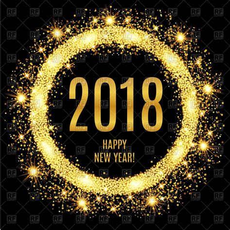 new year graphic free vector image of 2018 happy new year glowing gold