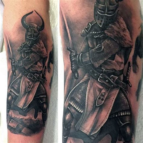black and grey knight tattoo top 80 best knight tattoo designs for men brave ideas