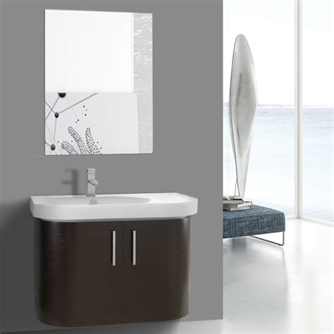 curved bathroom vanity 34 inch curved wenge wall bathroom vanity with fitted sink