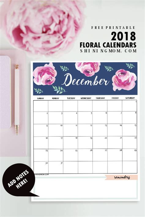 printable calendar 2018 pinterest calendar 2018 printable 12 free monthly designs to love