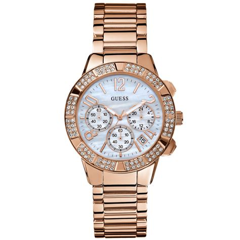 Guess Stainles Gold 1 guess womens chronograph gold tone stainless steel bracelet 41mm in pink lyst