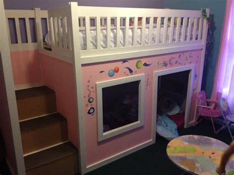 ana white loft bed ana white playhouse loft bed with storage steps diy projects