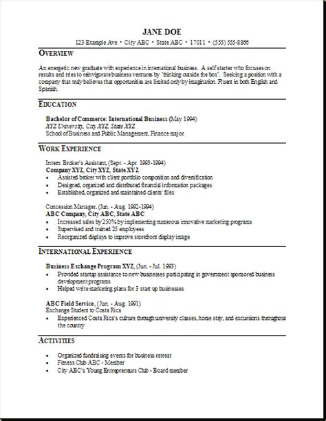 sle template graduate business management resume sales management