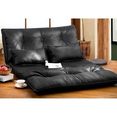 two floor bed merax pu leather foldable floor sofa bed with two pillows