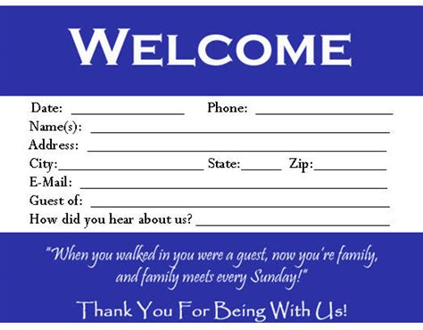 Church Visitor Card Template Downloads by Visitor Card Template You Can Customize