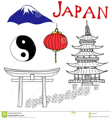 Easy To Draw Japanese Symbols by Japan Doodles Elements Set With Fujiyama