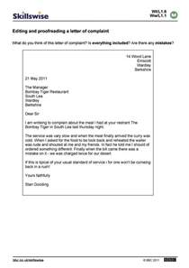 editing and proofreading a letter of complaint