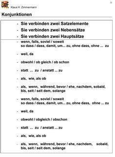 Deutsch als Fremdsprache DaF DaZ Grammatik - Konjunktionen