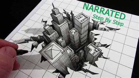3d building drawing how to draw a 3d city optical illusion narrated step by