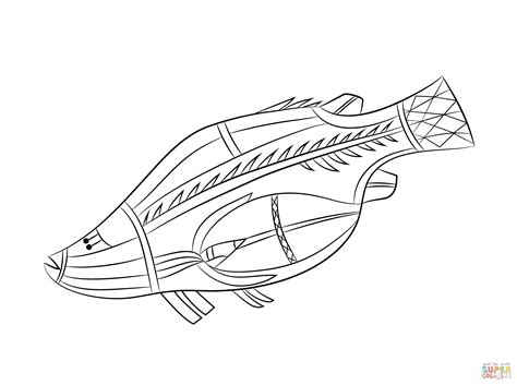 aboriginal rock painting of fish coloring page free