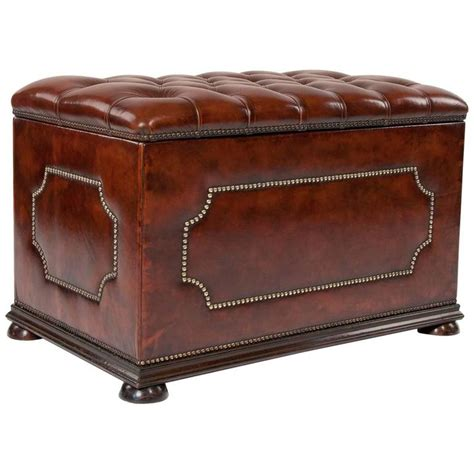 antique ottomans antique leather upholstered ottoman at 1stdibs