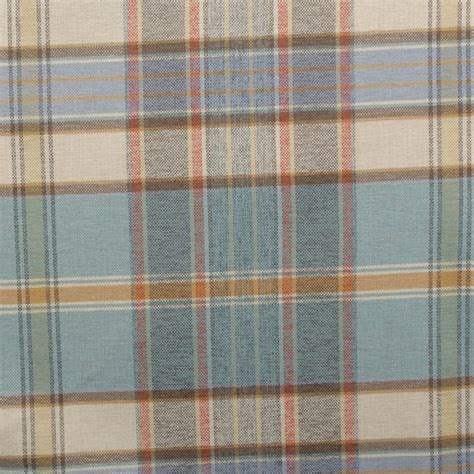 upholstery fabric check designer discount linen look tartan check plaid curtain