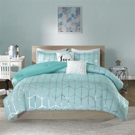 Nautical Bed Set Intelligent Design Khloe Aqua Silver Metallic Printed 5