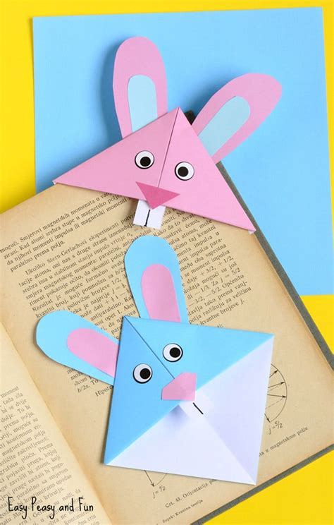 Origami Bookmarks - easter bunny corner bookmark diy origami for easy