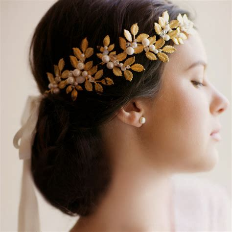 Vintage Leaf Wedding Hair Accessories by Gold Leaf Vintage Bridal Headband Handmade Pearl Wedding