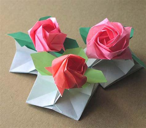 Origami Bunga Ros - origami bunga fachri s
