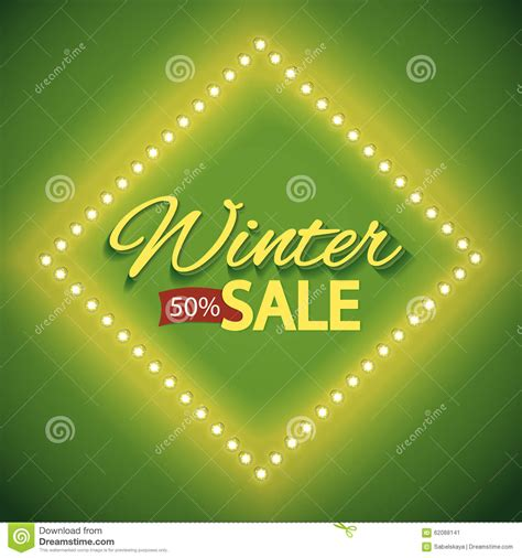 green lights for sale winter sale with green lights stock vector image 62088141
