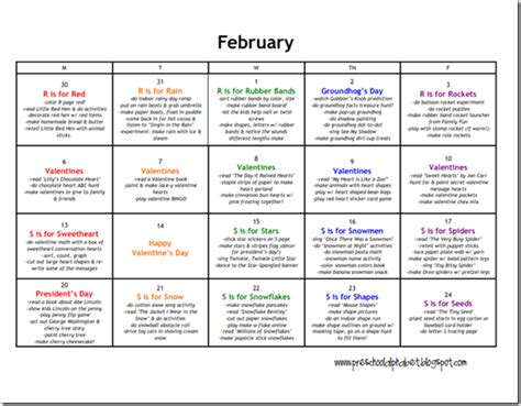 february themes in kindergarten preschool alphabet preschool plan for february