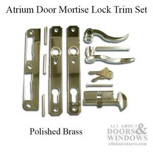 atrium door mortise lock trim set polished brass