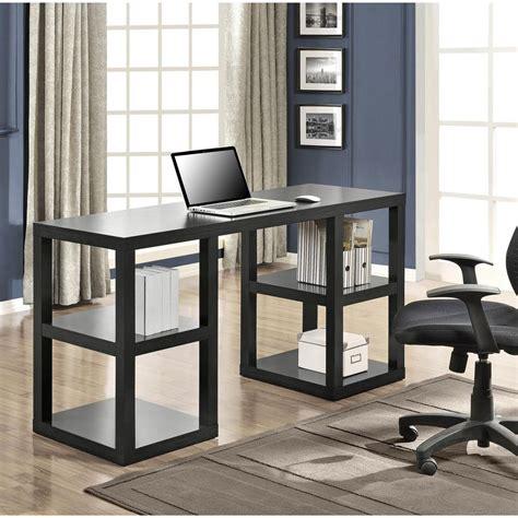 altra furniture stanley black oak desk with shelves