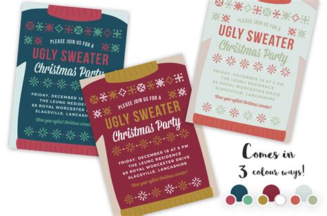 Ugly Sweater Christmas Party Invite Invitation Templates On Creative Market Sweater Invite Template